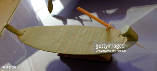 Model of fishing boat made of papyrus found in the tomb of Meket Ra Thebes Middle Kingdom Ancient Egypt 19911789 BC preserved in the Giza Solar boat...