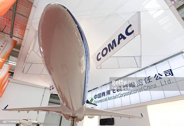 A model of future ARJ21 plane is shown on Comac's booth during an Aviation summit in Lingang industrial park on April 15 2010 in the outskirts of...