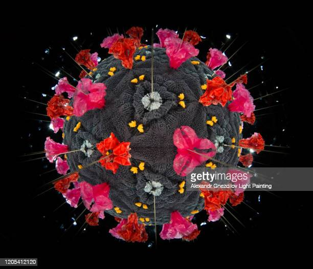 model of human coronavirus particle created with kaleidoscope - sudden acute respiratory syndrome stock pictures, royalty-free photos & images