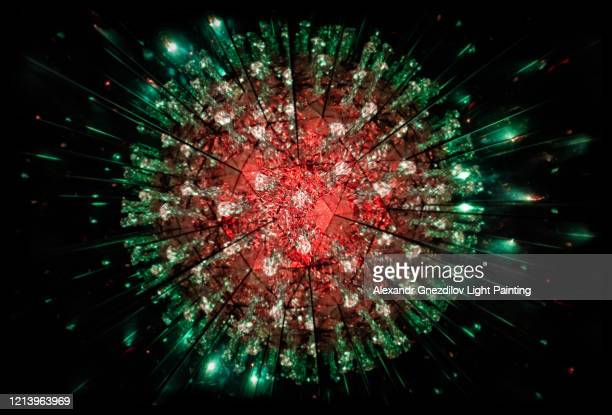 model of human coronavirus particle created with kaleidoscope - biology stock pictures, royalty-free photos & images