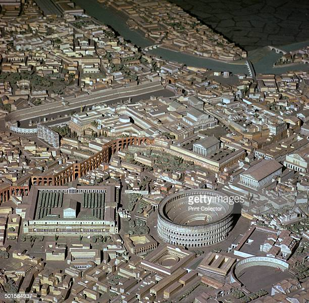 Model of Imperialperiod Rome Behind the Colosseum is the Palatine Hill and the Circus Maximus beyond on the left On the right of the Colosseum is the...