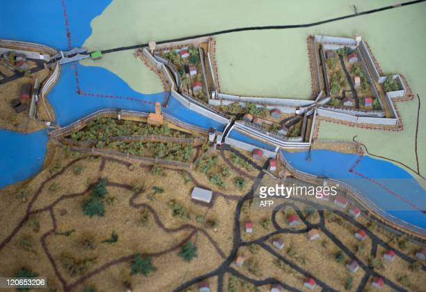 """Model of Klein Glienicke and its environments with the Teltow canal , Potsdam Babelsberg and West Berlin is on display at the exhibition """"Hinter der..."""