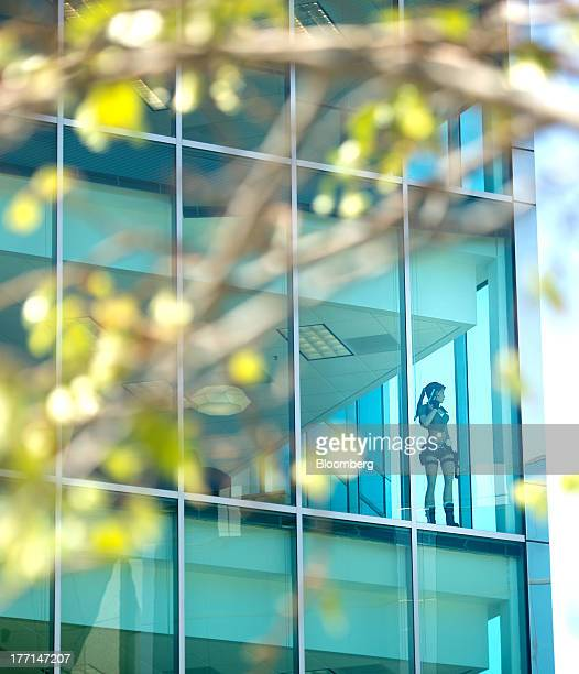 A model of Lara Croft from the Tomb Raider video game series looks out of a window at Sony Computer Entertainment America's headquarters in San Mateo...