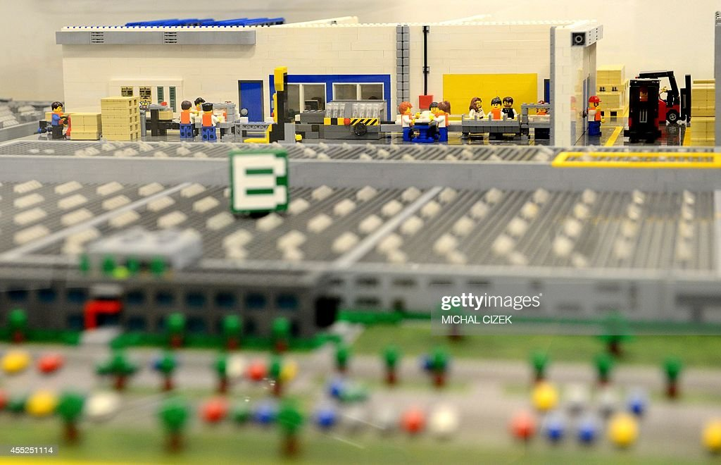 A model of Lego factory made from lego bricks is seen on September ...