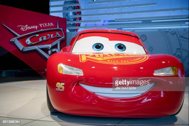 A model of Lightning McQueen from the Disney Pixar movie 'Cars 3' is shown during the 2017 North American International Auto Show in Detroit Michigan...