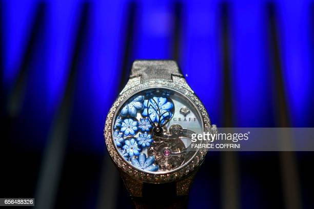 A model of luxury watchmaker Graff is displayed during the press day on the eve of the opening of the Baselworld watch and jewellery show on March 22...