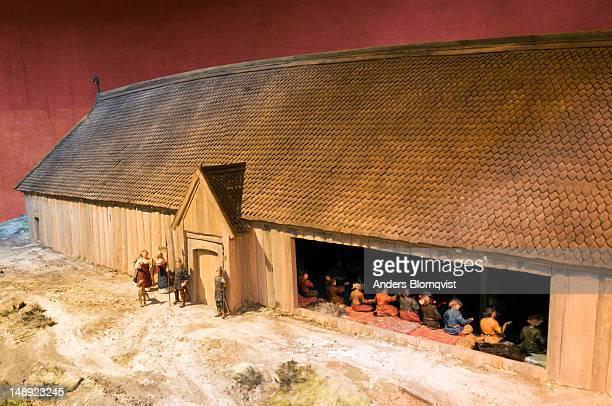 Model of main longhouse at Viking settlement of Birka.