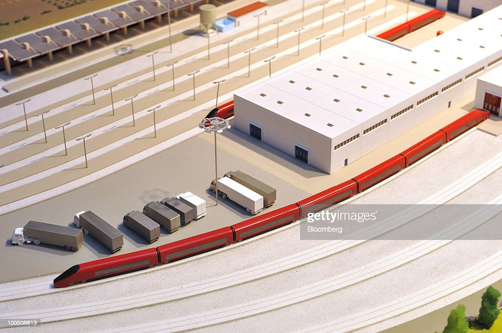 A model of Nuovo Trasporto Viaggiatori S.p.A. (NTV) high-speed .italo train is seen at the company's headquarters in Rome, Italy, on Tuesday, May 25, 2010. NTV plans to open a rail service in Italy next summer, using high-speed Alstom AGV trains on the same recently-upgraded tracks currently used by Trenitalia SpA. Photographer: Victor Sokolowicz/Bloomberg via Getty Images