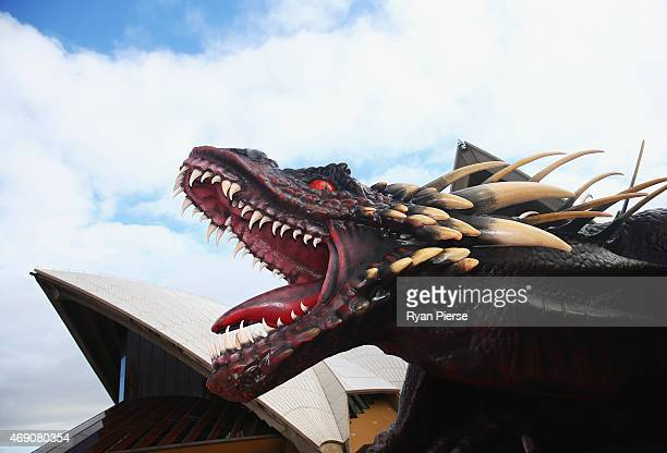 Model of one of Daenerys Targaryen's dragons is seen at photo call to launch Game of Thrones Season 5 at the at Sydney Opera House on April 10, 2015...