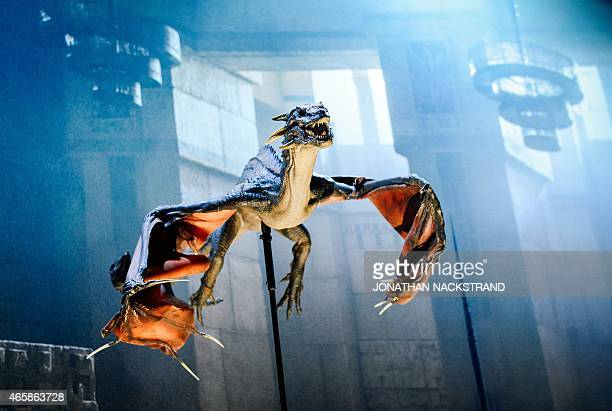 A model of Rhaegal one of the dragons from the HBO American fantasy drama television series Game of Thrones is displayed at the International Game of...
