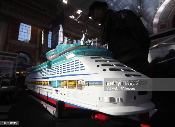 A model of Royal Carribbean's cruise ship Voyager of the Seas by Paul Chilcott on display during the London Model Engineering exhibition held at...