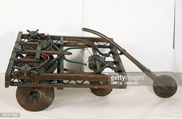 Model of selfpropelled cart designed by Leonardo da Vinci reconstruction from the Codex Atlanticus f 812 Italy 15th century Milan Museo Nazionale...