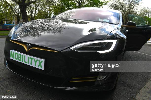A model of Tesla Model S P100D seen at a launch event for the MobilityX selfdriving conference On Tuesday May 8 in Dublin Ireland