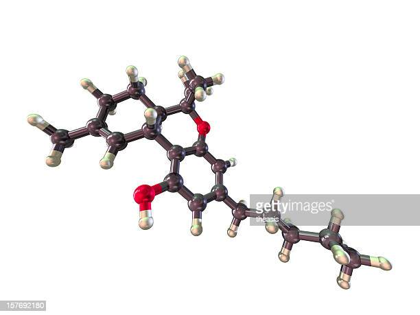 model of tetrahydrocannabinol - molecules stock photos and pictures