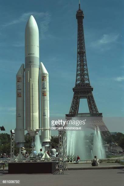 A model of the Ariane rocket on show on the Esplanade at Trocadero