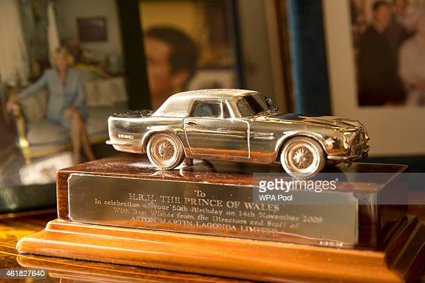 A model of the Aston Martin that Prince Charles Prince of Wales had converted to run on bioethanol made from surplus British wine during the meeting...
