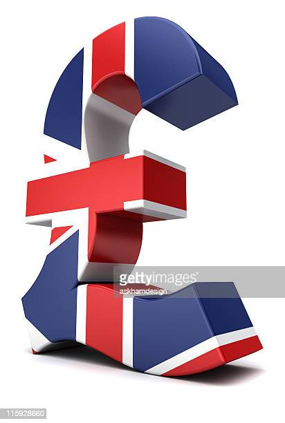 A model of the British pound painted in Union Jack