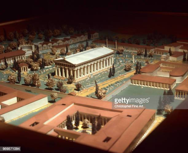 Model of the city of Olympia in the center with the Temple of Zeus Greek Art Museum of Olympia Greece
