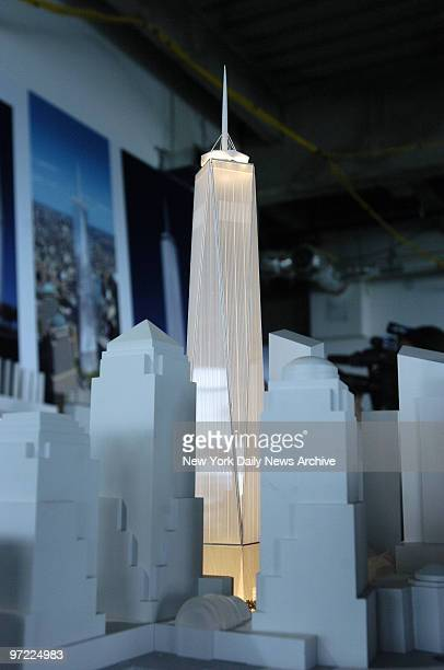 A model of the Freedom Tower incorporating the newest design refinements is on display at the American Institute of Architects Design Awards luncheon...