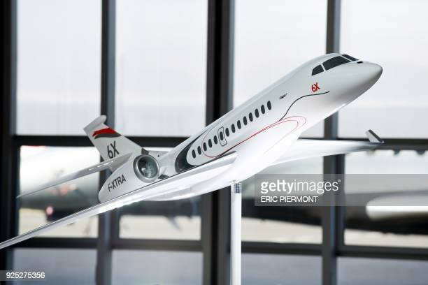 A model of the future Dassault Aviation 's Falcon 6X jet is displayed during a press conference at the Dassault Falcon Service at Le Bourget airport...