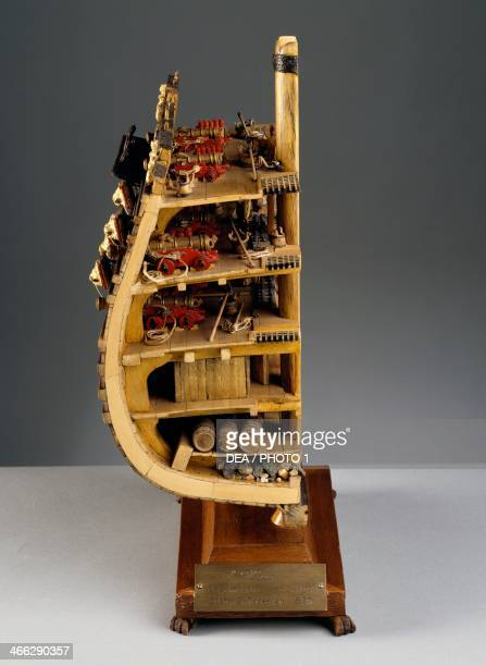 Model of the galley Vasa, built between 1626 and 1628, midship section. Sweden, 17th century.