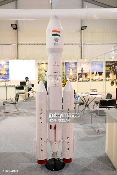 A model of the Geosynchronous Satellite Launch Vehicle Mk III is seen on display provided by the Indian Space Research Organisation at the India...