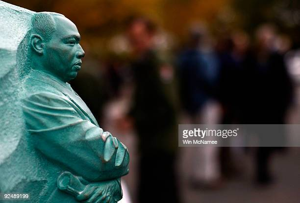 A model of the Martin Luther King Jr Memorial is shown during a ceremony announcing the approval of the construction process for the memorial on the...