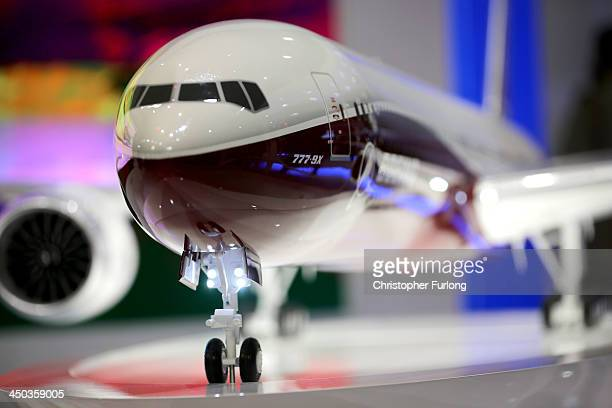 A model of the new Boeing 777 is displayed during the Dubai Airshow on November 18 2013 in Dubai United Arab Emirates The Dubai Air Show is the...