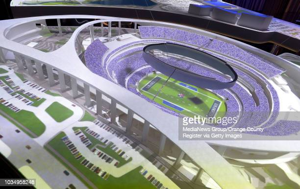A model of the new NFL stadium is on display for prospective suite buyers and advertisers at the LA Stadium Premiere Center in Playa Vista on Tuesday...