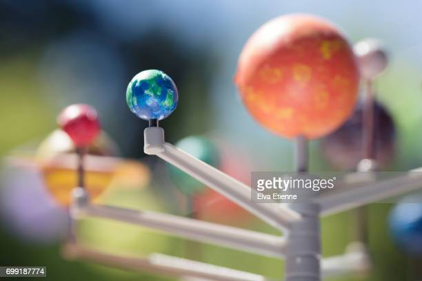 model of the planets in our solar system - solar system stock photos and pictures