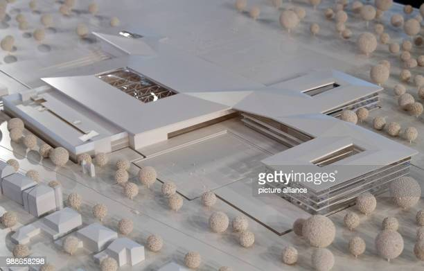 A model of the planned DFB Academy can be seen at the extraordinary federal conference of the German Football Association  in Frankfurt/Main Germany...