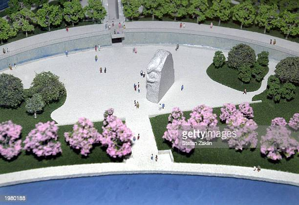 A model of the proposed National Mall Memorial to Martin Luther King Jr is seen May 7 2003 at the US Capitol in Washington DC The Martin Luther King...