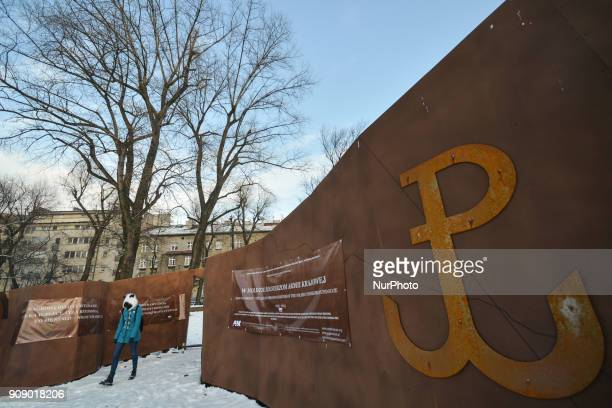 A model of the 'Ribbon of Remembrance' a project of the new monument in memory to the Home Army was placed on the Vistula riverbank near Wawel Castle...