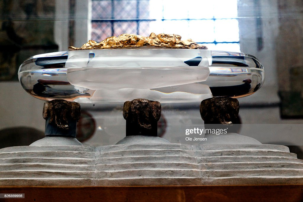 A model of the shared royal sarcophagus in Ropskilde Cathedral is seen on August 4, 2017 in Roskilde, Denmark. Danish Prince Henrik announced yesterday that he will not as planned accept to be buried with his wife Queen Margrethe. In an exclusive interview with the Danish daily, BT, royal communication manager Lene Balleby said that the Prince's decision is a consequence of the fact that he has not had equal status to the Queen. The Palace underlines that this does not mean that the Prince would be buried in another country.The sarcophagus has been created by Danish artist Bjoern Noegaard.