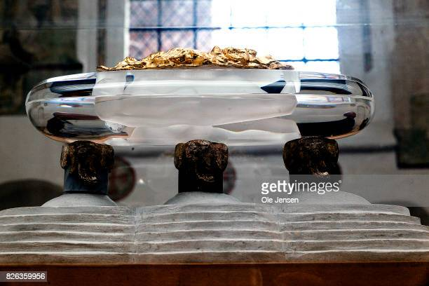 A model of the shared royal sarcophagus in Ropskilde Cathedral is seen on August 4 2017 in Roskilde Denmark Danish Prince Henrik announced yesterday...