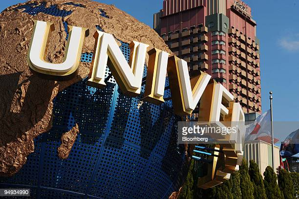 A model of the Universal Studios logo is displayed at the entrance to the theme park in Osaka Japan on Wednesday Jan 14 2009 Goldman Sachs Group Inc...