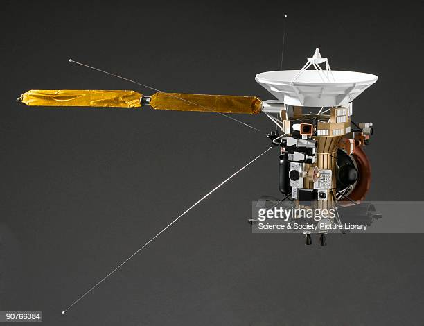 Model of the unmanned NASA spacecraft designed to send information back from Saturn and its satellites The spacecraft uses a variety of instruments...