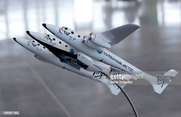 """Model of the VirginGalactic spacecraft was displayed in the main hanger during Colombia Pictures' """"After Earth"""" Press Junket at Spaceport America on..."""