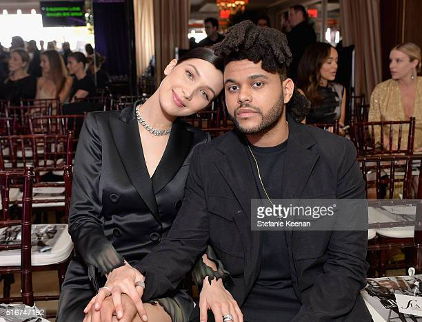 "Model of the Year Honoree Bella Hadid and Abel ""The Weeknd"" Tesfaye attend The Daily Front Row ""Fashion Los Angeles Awards"" 2016 at Sunset Tower..."