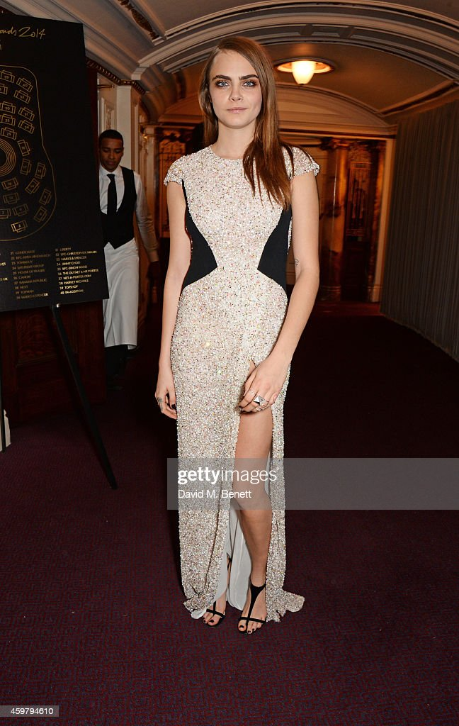 Model of the Year winner Cara Delevingne attends the British Fashion Awards at the London Coliseum on December 1, 2014 in London, England.