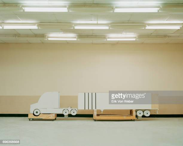 Model of tractor trailer in Langley Full-Scale Wind Tunnel