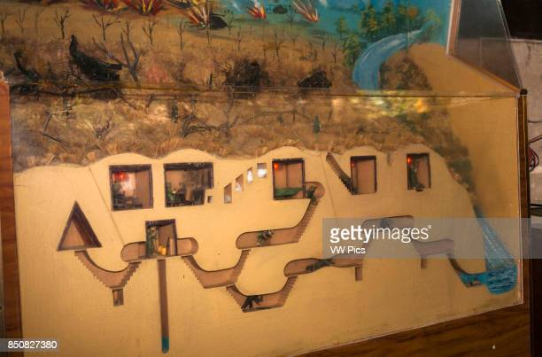 Model of tunnel system dug by Vietnamese soldiers at Ben Dinh Cu Chi near Ho Chi Minh City Vietnam