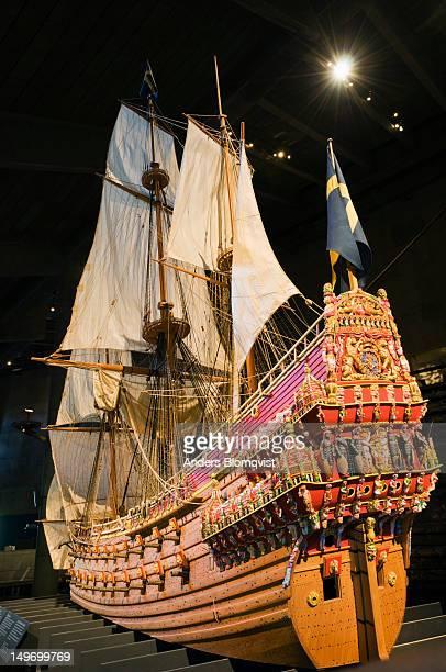 model of vasa flagship in vasamuseet on djurgarden. - vasa ship stock pictures, royalty-free photos & images