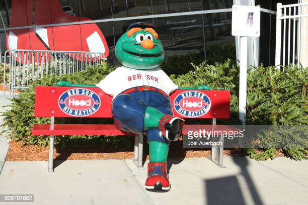 A model of Wally the Boston Red Sox mascot sitting in front of the team store at JetBlue Park prior to the spring training game against the New York...