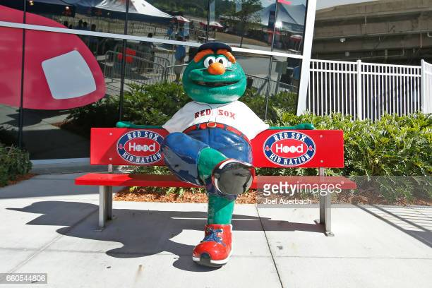 A model of Wally the mascot of the Boston Red Sox outside JetBlue Park prior to the spring training game against the Washington Nationals on March 30...