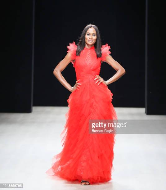 Model Ojy Okpe walks the runway wearing Mai Atafo during Arise Fashion Week on April 19 2019 in Lagos Nigeria