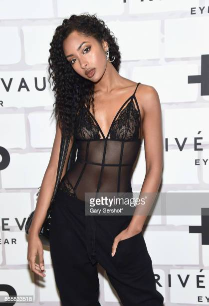 Model Olayinka Noel attends Prive Revaux Eyewear's New York Flagship launch event at Prive Revaux on December 4 2017 in New York City