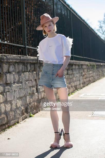 Model Olga Vassileva wears all Miss Sixty on February 26, 2019 in Paris, France.