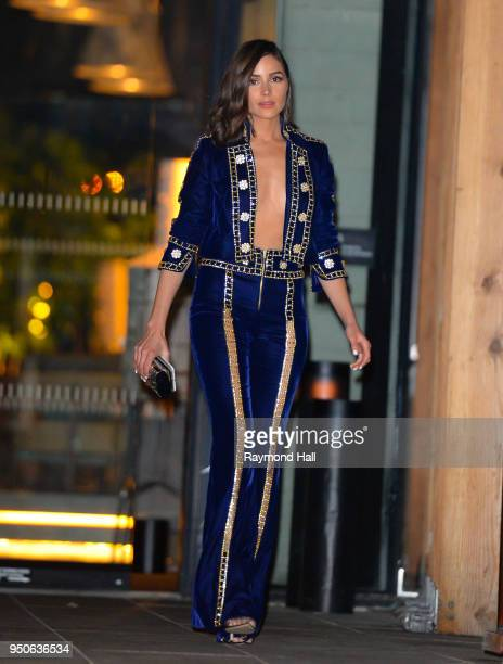 Model Olivia Culpo is seen leaving Gigi Hadid's party in Brooklyn on April 23 2018 in New York City