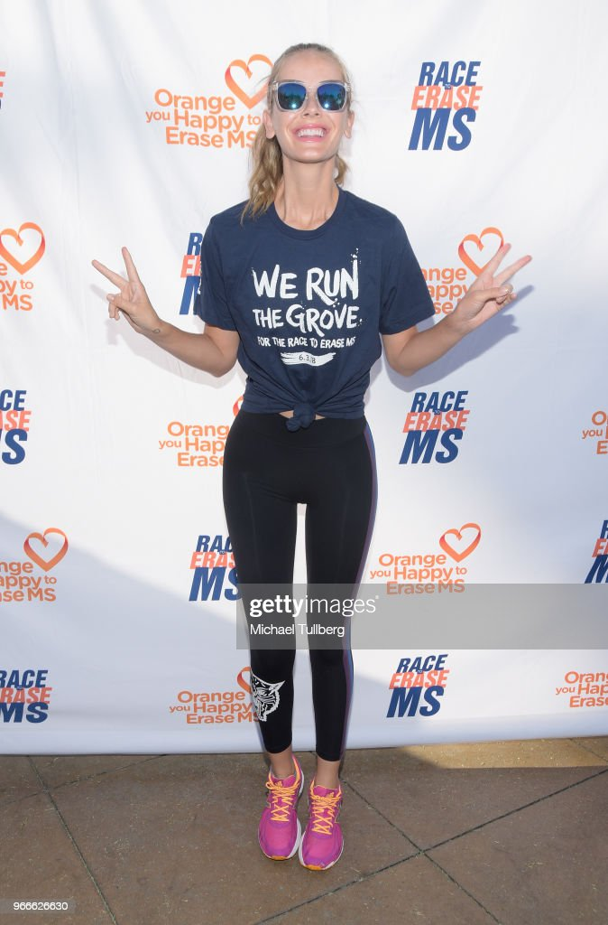 Model Olivia Jordan attends We Run The Grove for the Race To Erase MS at The Grove on June 3, 2018 in Los Angeles, California.